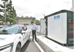 郡山市役所に開設された簡易型のスマート水素ステーション