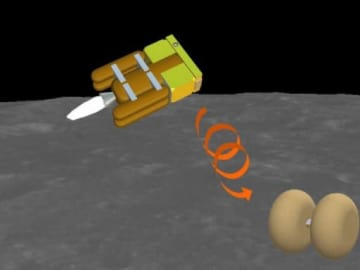 JAXAの「OMOTENASHI」プロジェクトのイメージ。探査機(左)から着陸用の機体を分離し、エアバッグを開いて月面に着陸させる(JAXA提供)
