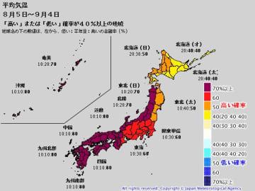 8月3日発表の気象庁1か月予報。8月5日から9月4日にかけての平均気温は全国的に高い見通し。出典=気象庁ホームページ