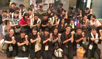 全国総文祭で優秀賞を獲得した日立一高演劇部員ら=宮城県仙台市(同部提供)