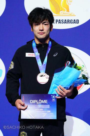 銅メダルを獲得した藤波勇飛(山梨学院大)=撮影・保高幸子