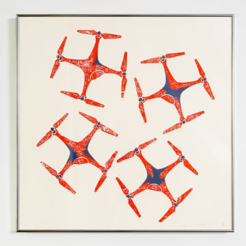『Drones』 (VIEWNオリジナル作品) by 小井田由貴 ¥59,400(税込)  木版画の上に筆でペイント 50.5cm x 50.5cm(シルバーフレーム付き)