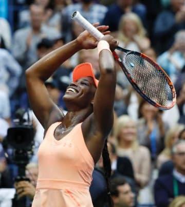 女子シングルスで優勝したスローン・スティーブンス=9日、ニューヨーク(AP=共同)