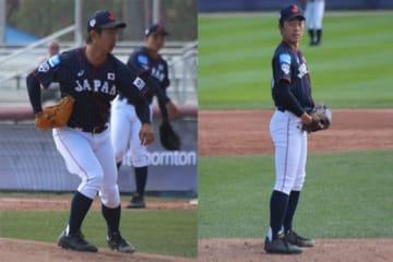 韓国戦に登板した侍U-18代表・田浦(左)と川端(右)【写真:沢井史】