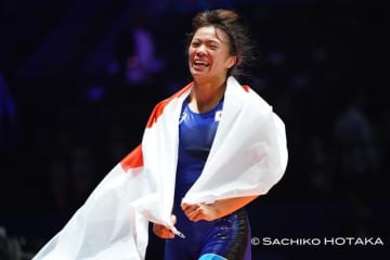 オリンピックに続いて世界一に輝いた川井梨紗子(ジャパンビバレッジ)=撮影・保高幸子