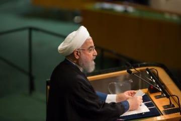 国連総会一般討論で演説するイランのロウハニ大統領=20日、ニューヨークの国連本部(ゲッティ=共同)