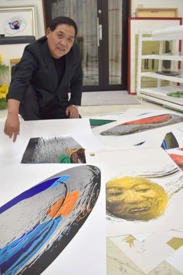 ポルトガル・リスボンのオリエント美術館で個展を開く藤代範雄さん=行方市沖洲