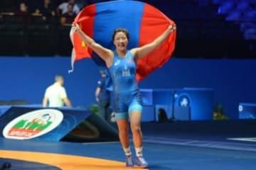 女子63kg級で快進撃を続けるオーコン・プレブドルジ(モンゴル)=写真は世界選手権