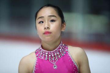フィギュアスケートのジュニアGP第5戦クロアチア大会、女子ショートプログラム(SP)で2位につけた山下真瑚=28日、ザグレブ(国際スケート連盟・ゲッティ=共同)
