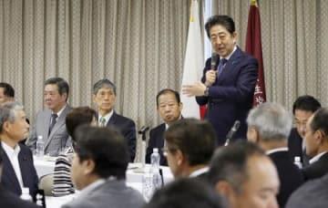 自民党全国幹事長会議であいさつする安倍首相=30日午前、東京・永田町の党本部