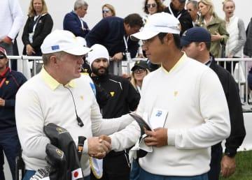 松山英樹は3日目、ジョナサン・ベガスと一緒に午後のファアボールに出場し、3&2で敗れた Photo by Chris Condon/PGA TOUR