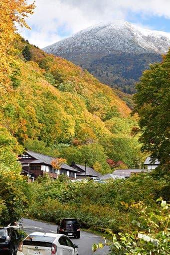 見ごろを迎えている酸ケ湯周辺の紅葉と山頂付近が雪化粧した大岳=5日午前10時すぎ、青森市