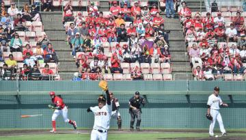 県内外から訪れた大勢のファンが熱戦に声援を送ったファーム日本選手権=7日午後、宮崎市・KIRISHIMAサンマリンスタジアム宮崎