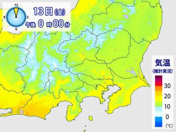 13日正午の気温分布。