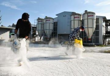 鶏舎前の出入り口で消石灰を散布する従業員=12日午前、川南町川南