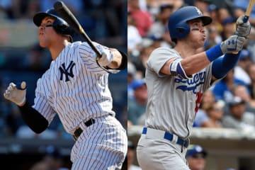 共に新人王獲得が確実視されているヤンキース・ジャッジ(左)とドジャース・ベリンジャー(右)【写真:Getty Images】