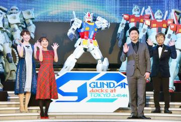 オープニングセレモニーに登場した(左から)小松未可子、鈴木奈々、MAKIDAI、古谷徹=東京都内