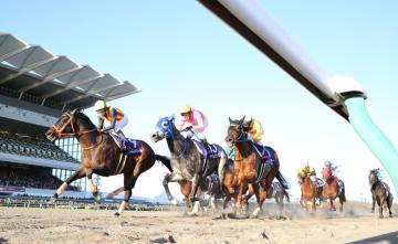 優勝したゴールドドリーム(左端)。左から2頭目は2着のテイエムジンソク=中京競馬場