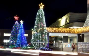 旭化成延岡支社玄関前で輝くイルミネーション