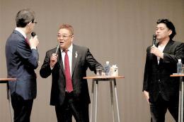 トークを交わす(左から)内堀知事、伊達さん、富沢さん