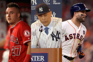 各球団で「27」の背番号をつけているトラウト、スタントン、アルトゥーベ(左から)【写真:Getty Images】