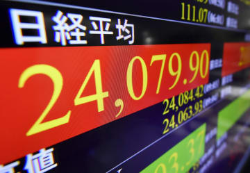 一時2万4000円を超えた日経平均株価を示すモニター=18日午前、東京・東新橋