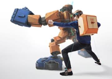 ニンテンドーラボのロボットキットのイメージ。工作した装置を背負って動かせば、テレビ画面に映るロボット(後ろ)を操作できる