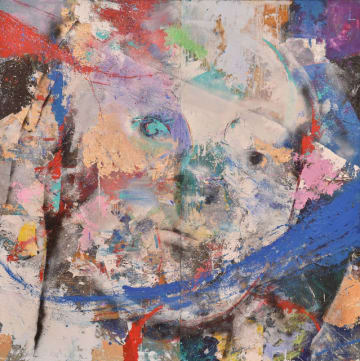 平嶋さんが昨年の宮日総合美術展留学賞チャレンジ部門に出品、入選した「女」(ミクストメディア、170センチ×170センチ)