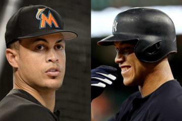 今季からヤンキースでチームメイトとなるスタントン(左)とジャッジ【写真:Getty Images】