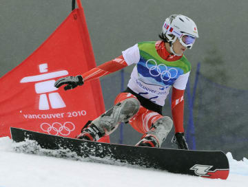 バンクーバー五輪女子パラレル大回転予選での家根谷依里=2010年2月、サイプレスマウンテン(共同)