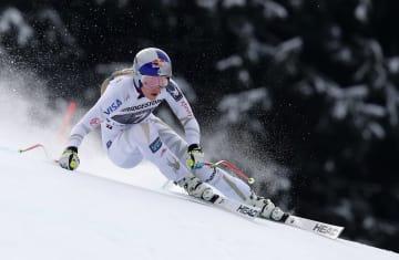 アルペンスキーW杯女子滑降第7戦、優勝のリンゼイ・ボン=4日、ガルミッシュパルテンキルヘン(AP=共同)