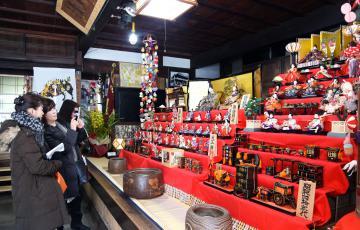 旧家のひな人形をスマホに収める観光客ら=桜川市真壁町真壁