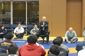 オリンピックを目指す選手に熱い気持ちを訴えた福田富昭会長