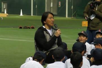野球教室で質問に答える松井秀喜氏【写真:福谷佑介】