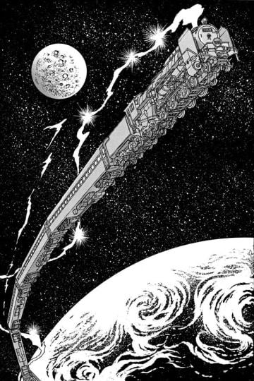 「銀河鉄道999」の新作エピソードで、宇宙を疾走する銀河超特急999号((C)松本零士/小学館)