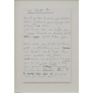 「アイ・ミー・マイン展」に展示されているジョージ・ハリスンの未発表歌詞「ヘイ・リンゴ」