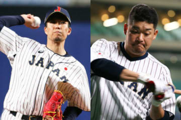 先発投手の千賀滉大(左)と4番スタメンの筒香嘉智【写真:Getty Images】