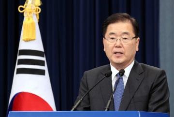 5日、ソウルの韓国大統領府で、訪朝に先立ち抱負を述べる鄭義溶国家安保室長(聯合=共同)