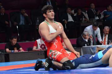 圧勝優勝を飾ったオリンピック&世界王者のハッサン・ヤスダニ(イラン)