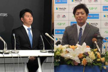 巨人からパ・リーグ球団へ移籍した実松(左)と高木