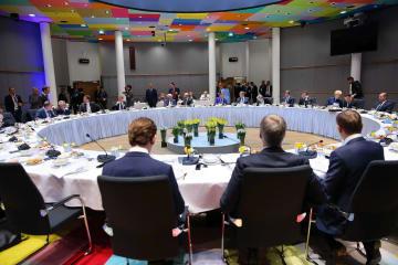 23日、ブリュッセルで開かれたEU首脳会議(ゲッティ=共同)