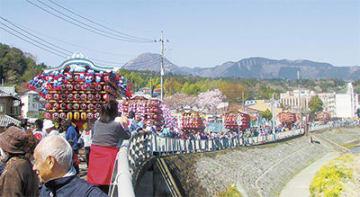 狩川沿いを巡行する山車=大雄橋付近から撮影
