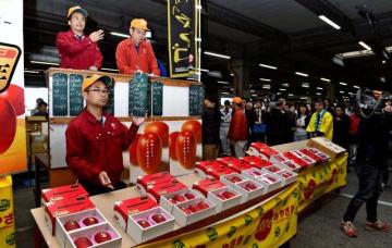 初競りで高値取引された完熟マンゴー「太陽のタマゴ」=16日午前、宮崎市中央卸売市場