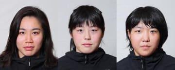 女子68kg級のアジア大会代表の座を争う3選手。左から源平彩南(至学館大)、森川美和(日体大)、松雪成葉(至学館大)