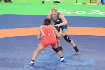 リオデジャネイロ・オリンピックで闘うモニカ・ミチャリク(ポーランド)。初戦で川井梨紗子に敗れたものの、敗者復活戦を勝ち上がって銅メダル獲得