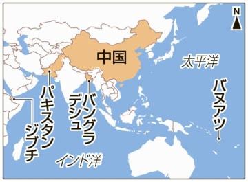 中国、パキスタン、バングラデシュ、ジブチ、バヌアツ