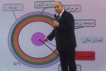 イランの核兵器開発について説明するイスラエルのネタニヤフ首相=4月30日、テルアビブ(AP=共同)