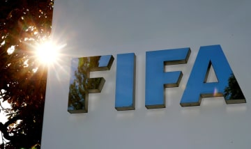 スイス・チューリヒにあるFIFA本部のロゴ(ロイター=共同)