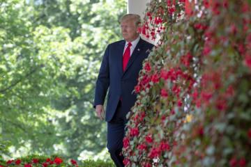 トランプ米大統領=3日、ホワイトハウス(UPI=共同)