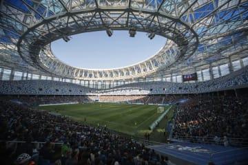 ロシア西部ニジニーノブゴロドのワールドカップ(W杯)会場=4月(AP=共同)